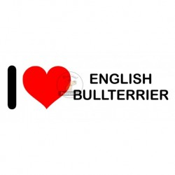 Samolepka na auto I LOVE ENGLISH BULLTERRIER