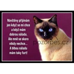 Tabulka Siamská kočka univ.