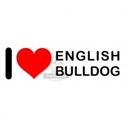 Samolepka na auto I LOVE ENGLISH BULLDOG