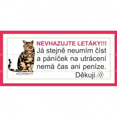 Samolepka na poštovní schránku NEVHAZUJTE LETÁKY- KOČKA