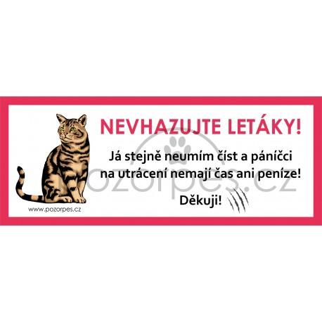 Malá samolepka na poštovní schránku NEVHAZUJTE LETÁKY- KOČKA